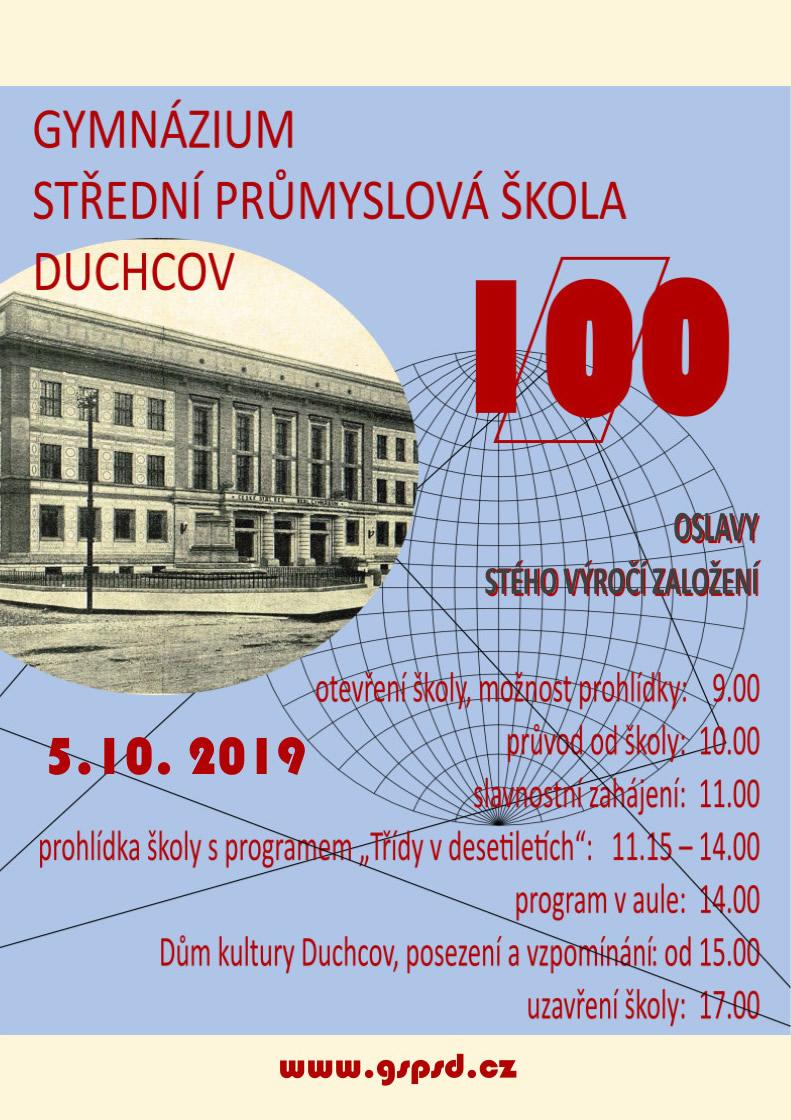 100 let výročí střední průmyslová škola Duchcov