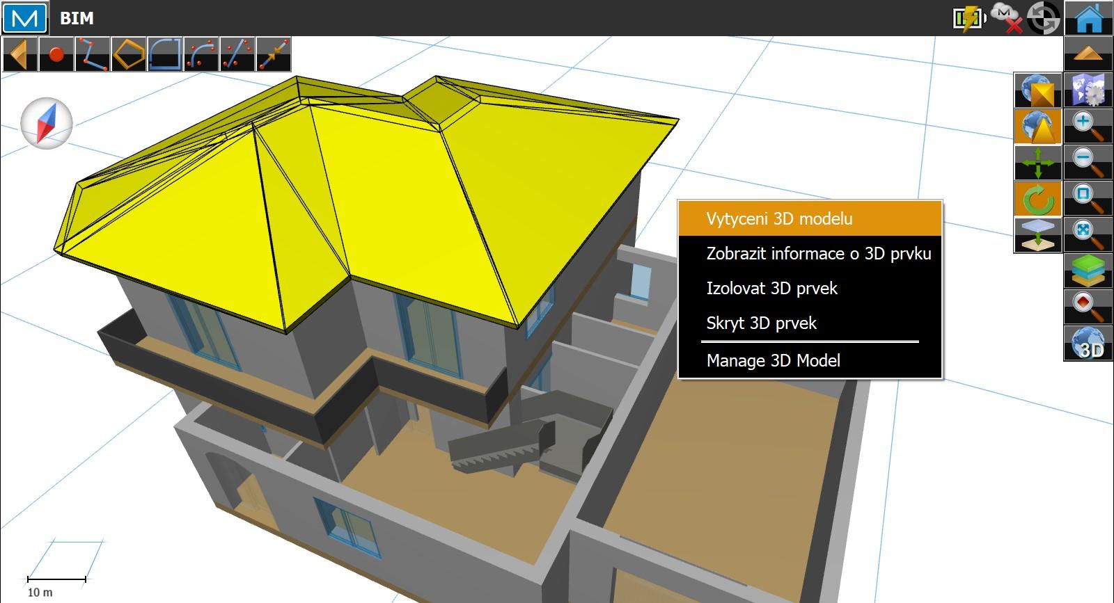 Software Magnet Field - Po výběru prvku je možné zobrazit menu pro práci s tímto prvkem.