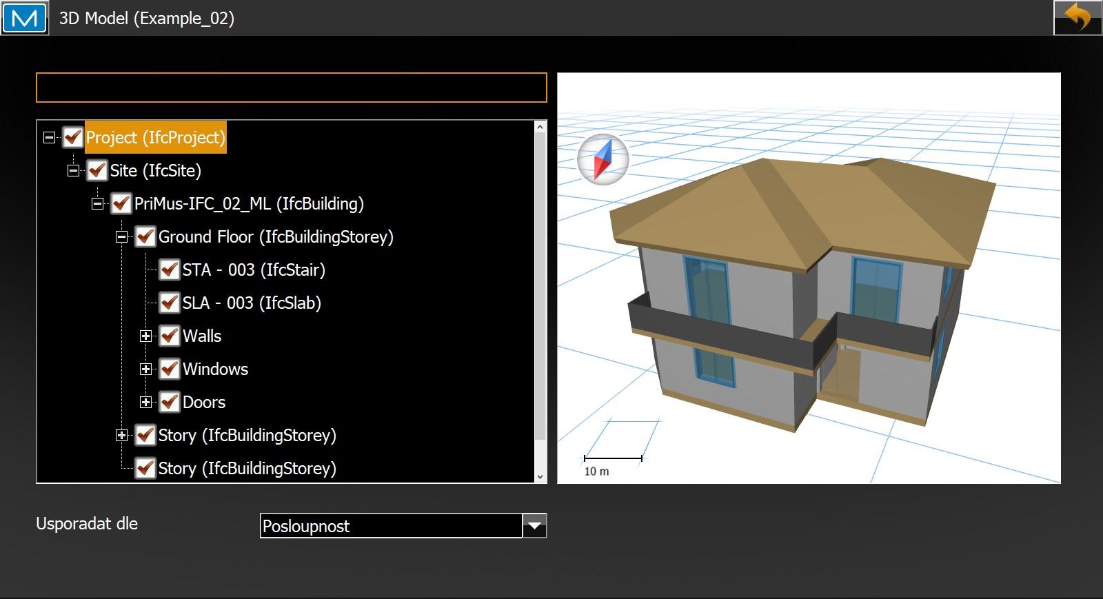 Software Magnet Field - Volba Editace 3D modelu umožňuje například výběr patra